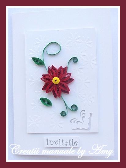 invitatie de nunta cu floare rosie quilling